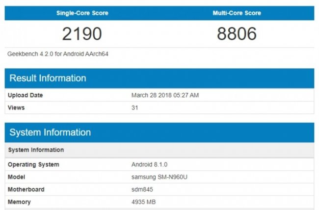 Samsung Galaxy Note 9 с Android 8.1 тест в Geekbench